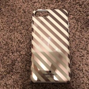 Kate spade rose gold stripe iphone 7/8 plus case